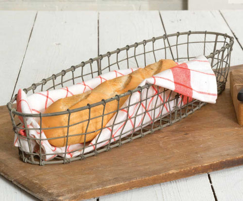Small Baguette Open Weave Metal Basket
