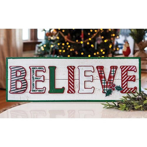 "Believe Wooden 23"" Christmas Sign"