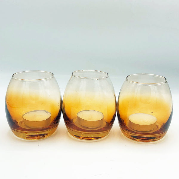 Set of 3 Amber Shades Glass Votive Candle Holders