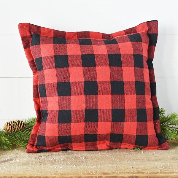"Red and Black Buffalo Plaid 17"" Pillow"