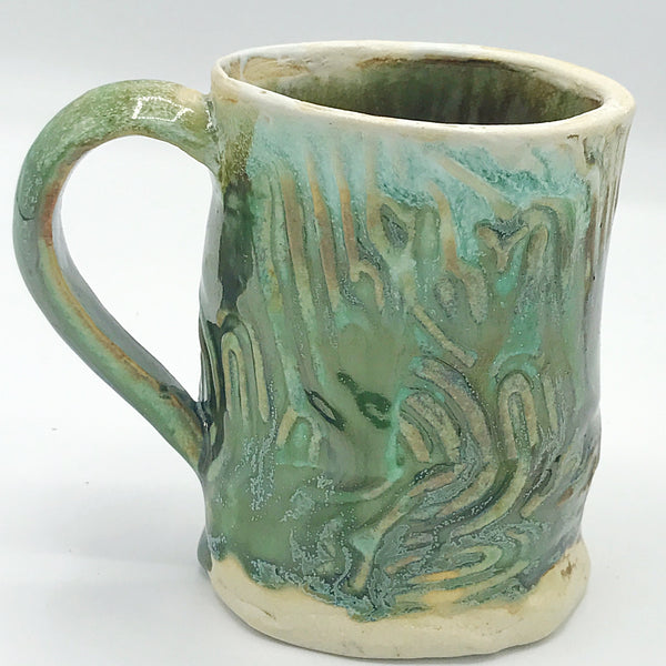 Handcrafted Green Swirls Pottery Mug