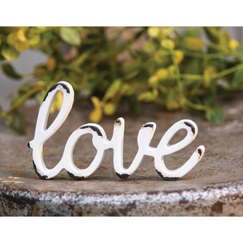 Love Distressed White Resin Figurine