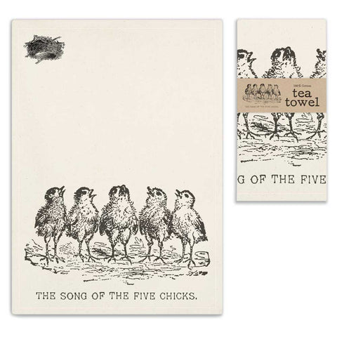 Song of the Five Chicks Tea Towel