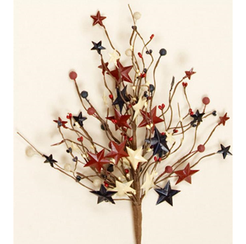 "Americana Berries And Tin Stars 18"" Branch"