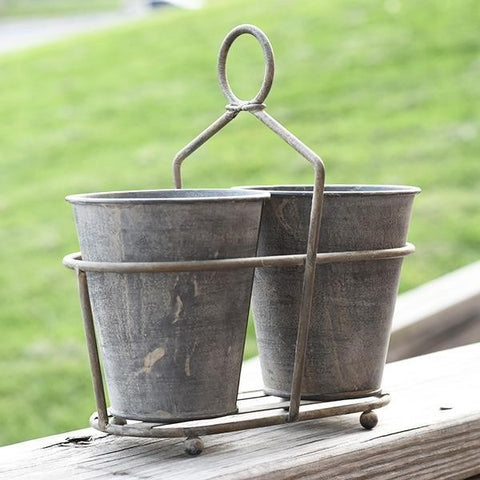 Double Tin Pot in Metal Caddy