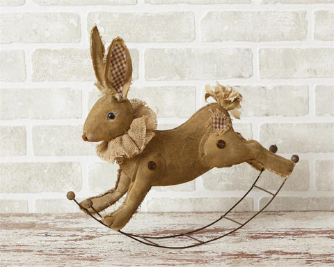 Whimsical Rocking Canvas Rabbit Figure