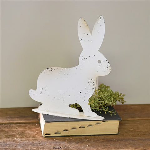 White Distressed Bunny Silhouette Tin Figure