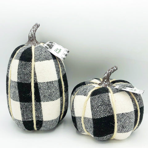 Set of Two Black and White Buffalo Plaid Pumpkins