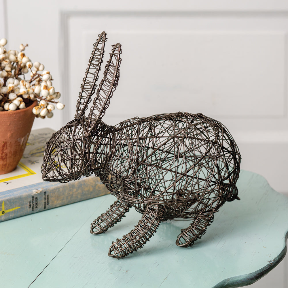 Rustic Twisted Wire Garden Bunny