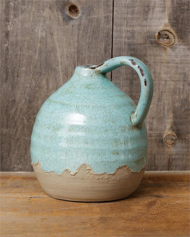 Earthenware Robin's Egg Blue Crackle Jug