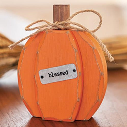 Blessed Orange Chunky Pumpkin Wooden Sitter