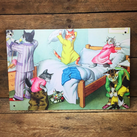 "Cats Getting Ready for Bed Tin Sign 6"" x 9"""