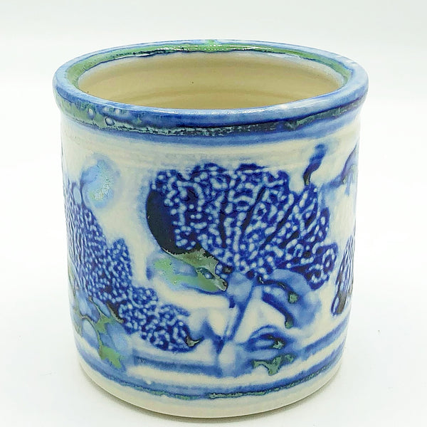 Blue Green Floral Mini Pottery Planter