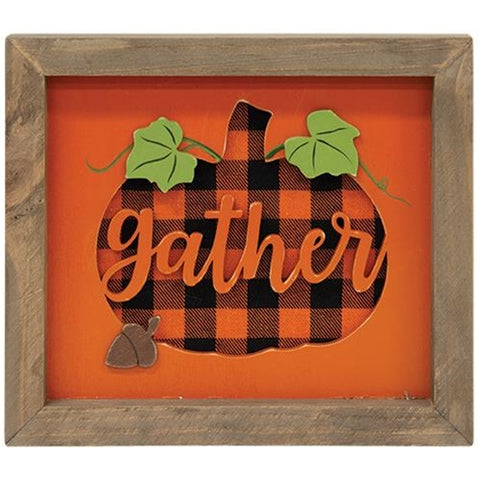 Gather Pumpkin Buffalo Plaid Framed Sign