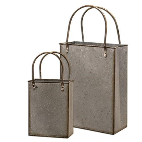 Set of 2 Galvanized Metal Totes