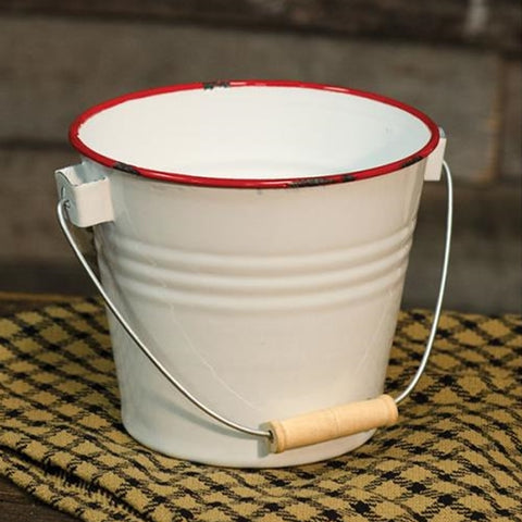 "Red Rim 7.5"" H Enamel Bucket"