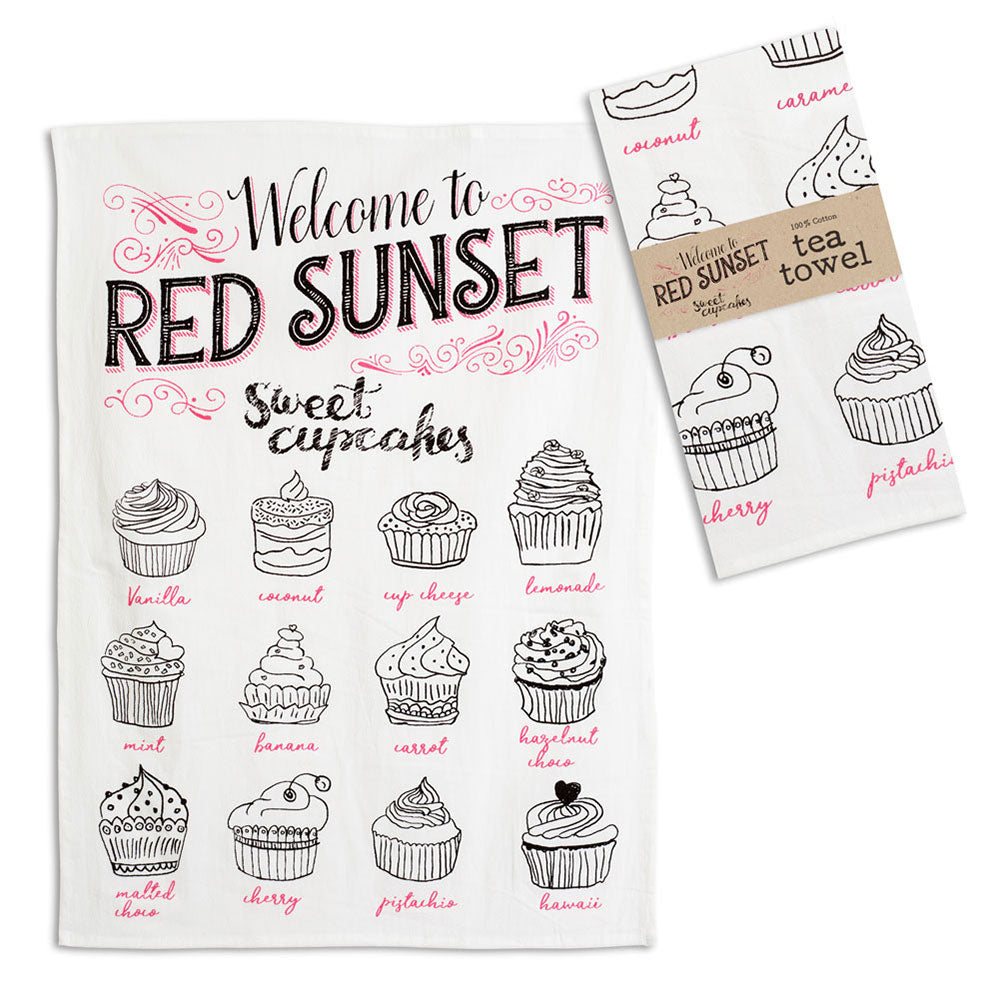 Welcome to Red Sunset Sweet Cupcakes Tea Towel