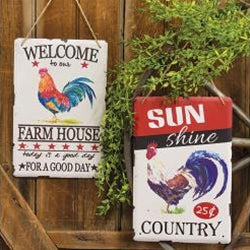Set of 2 Metal Farmhouse Rooster Retro Ads Signs