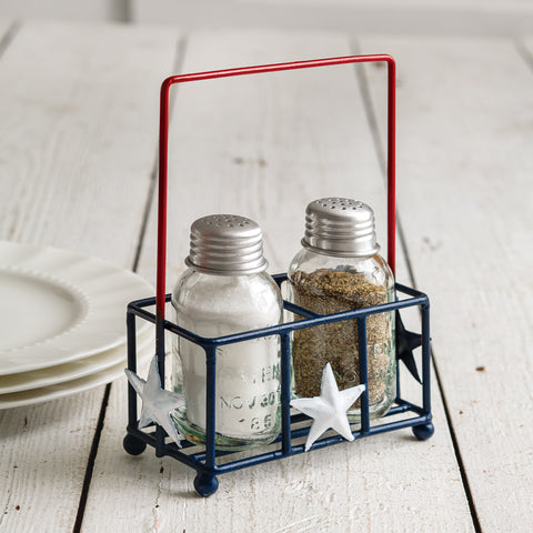 Liberty Salt and Pepper Shaker Caddy Americana
