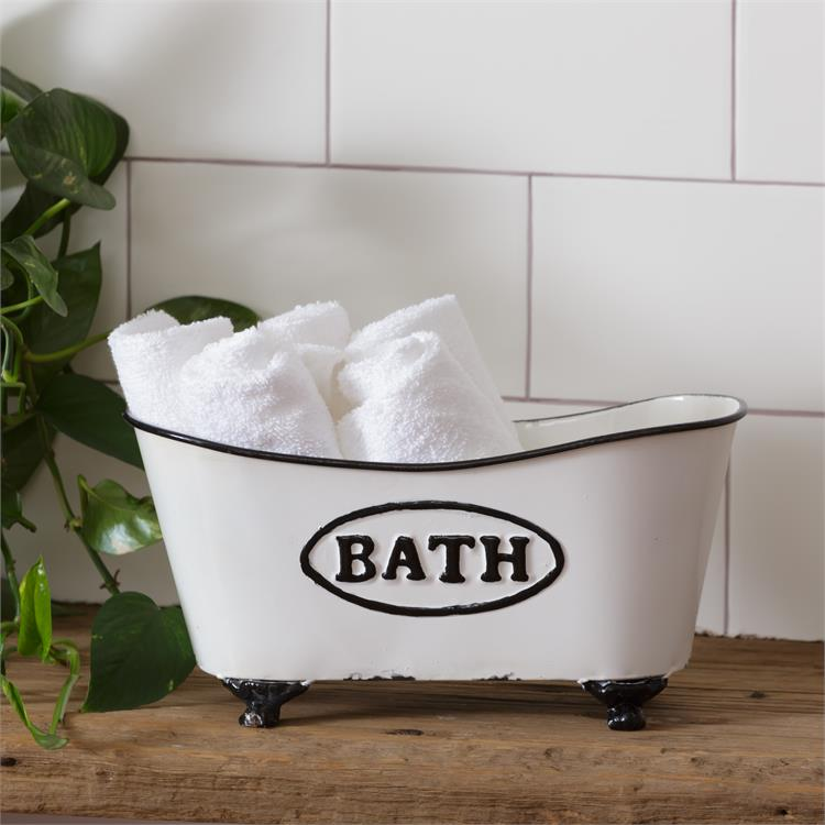 BATH Vintage-style Shaped Tub Bin Holder