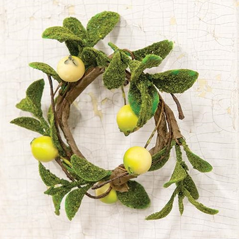 "Green Leaf & Yellow Berries 4"" Mini Faux Floral Ring"