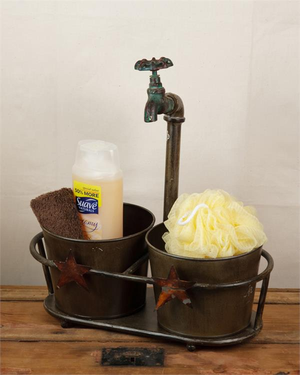 Rustic Faucet Planter Stand With 2 Garden Buckets