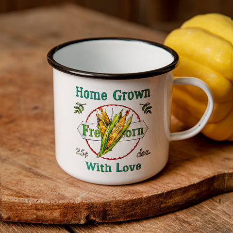 Home Grown With Love Fresh Corn Enamelware Mug