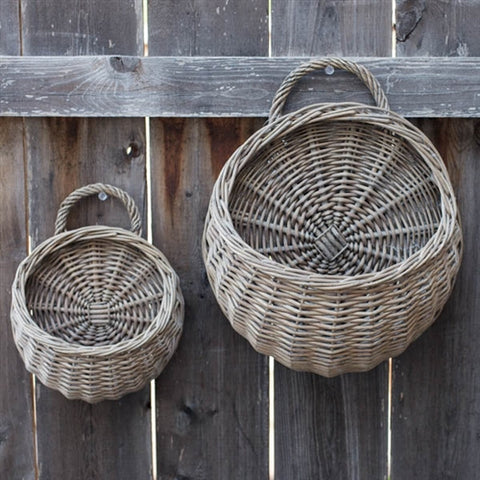 Set of 2 Round Willow Wall Pocket Baskets