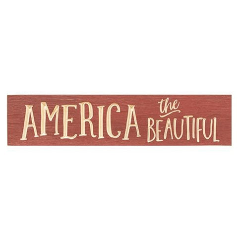 "America the Beautiful 24"" Barn Red Engraved Sign"