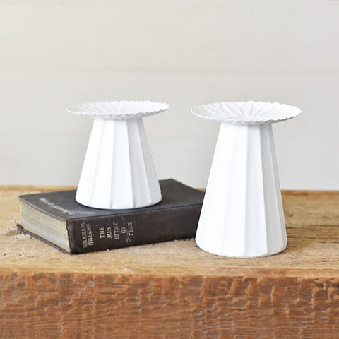 Set of 2 White Tin Candle/Display Stands