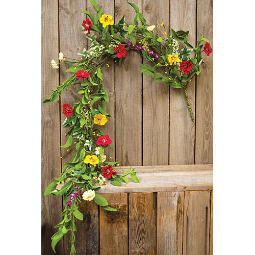 Hibiscus Garland 4 ft - colorful flowers, berries & greens
