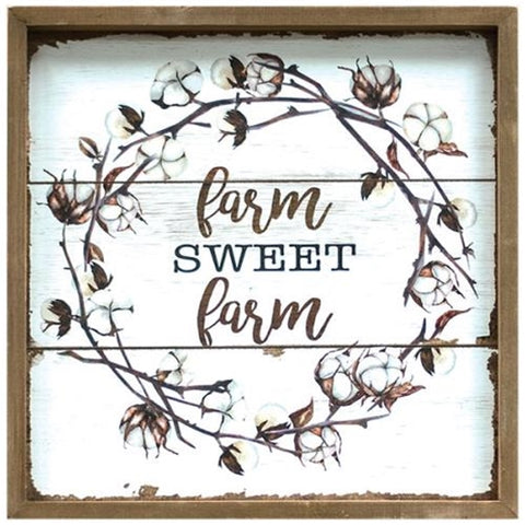 "Farm Sweet Farm Cotton 11.5"" Square Sign"