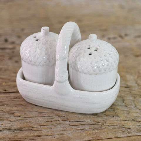 White Acorn Salt & Pepper Shakers with Caddy