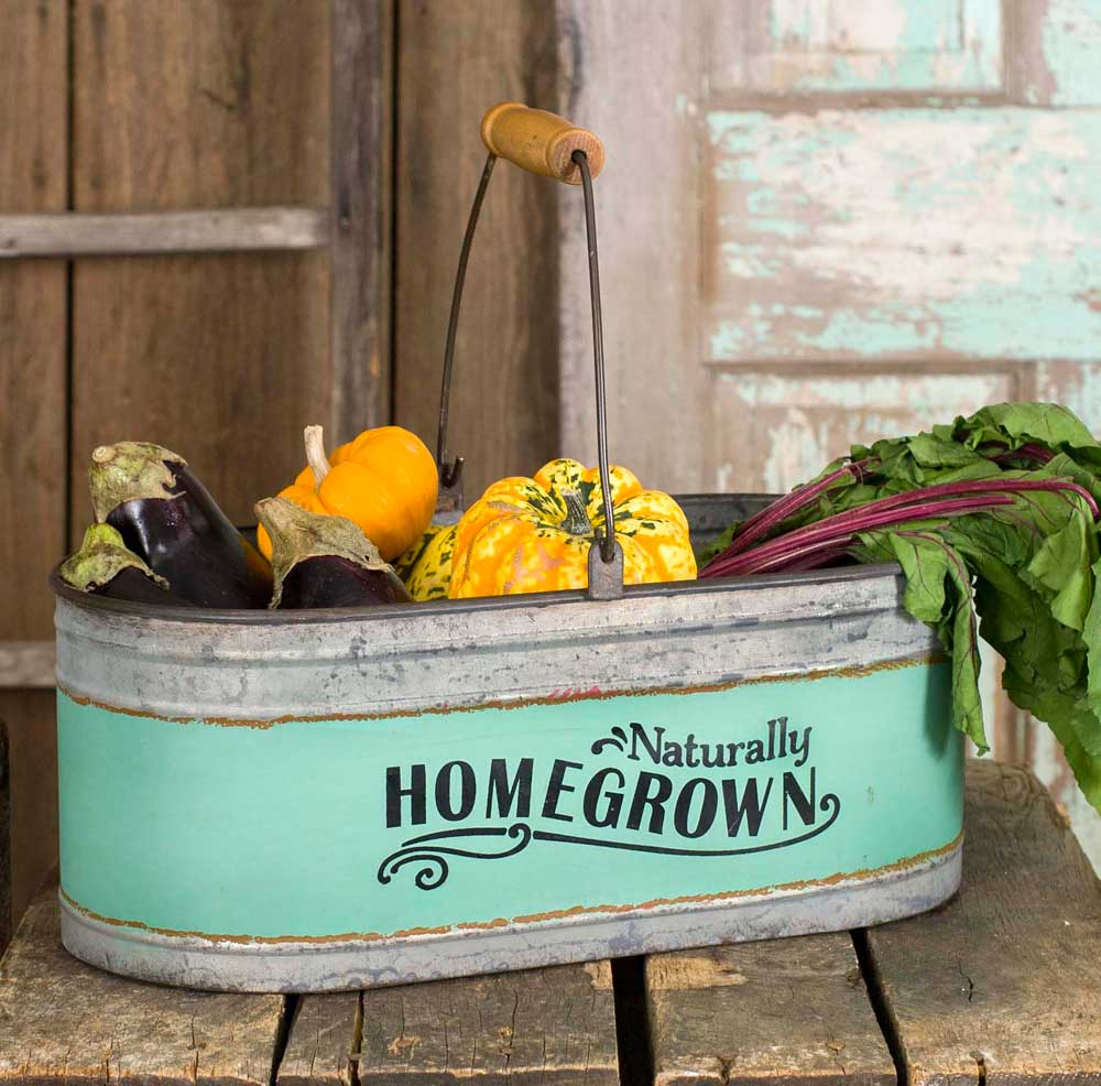 "Farmhouse Style ""Naturally Homegrown"" Galvanized Oval Bucket with Handle"
