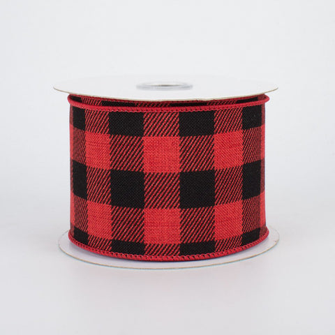 "Buffalo Plaid Red and Black Ribbon 2.5"" W x 10 yards"