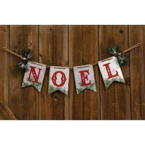 Noel Metal Pennant with Evergreen Accents