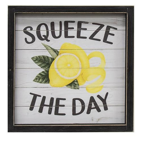 Squeeze the Day Framed Lemon Sign
