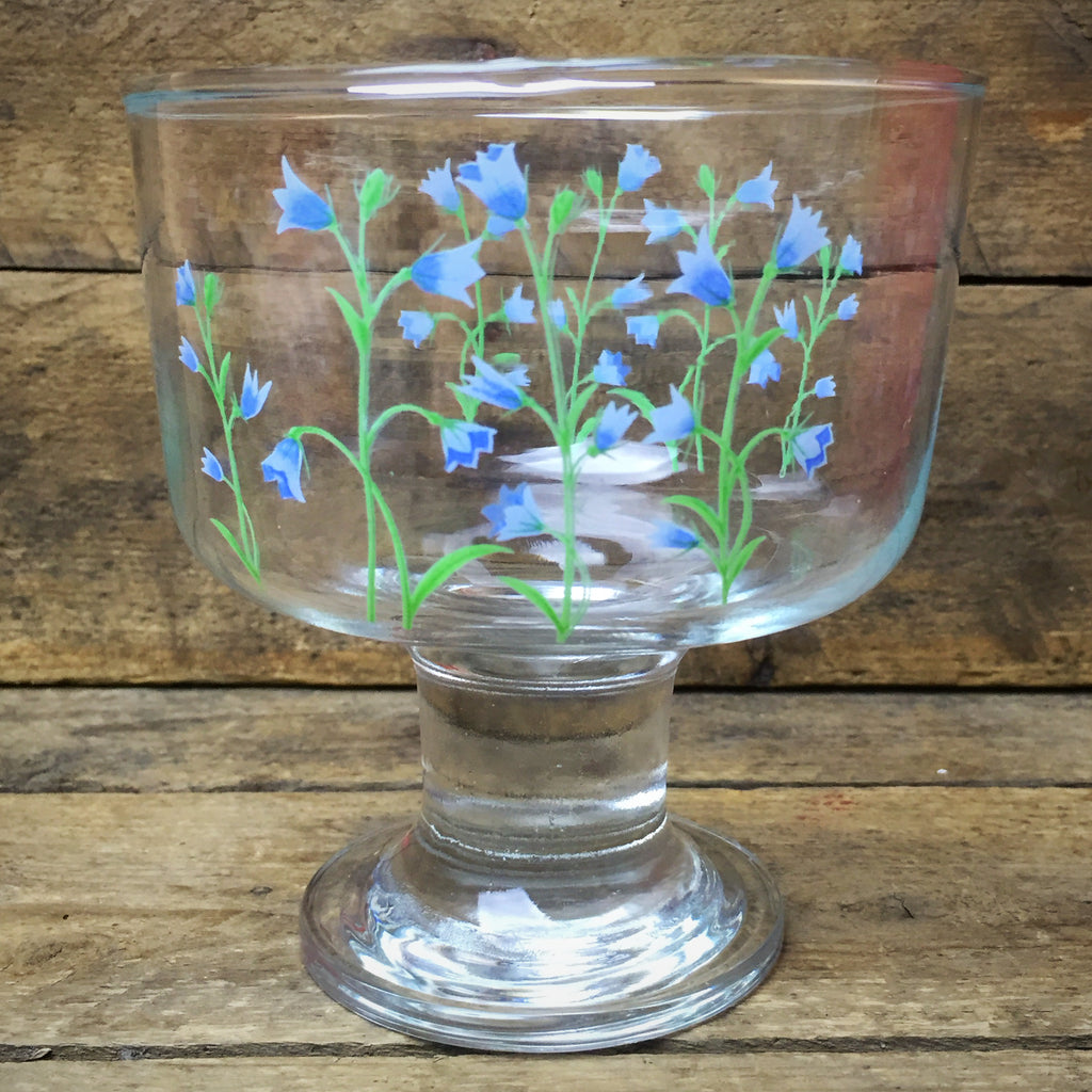 Painted Blue Flowers Glass Candy Dish