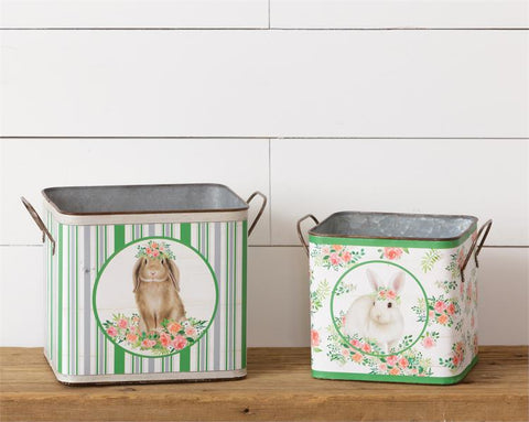 Set of 2 Bunny in Bloom Nested Handled Tins