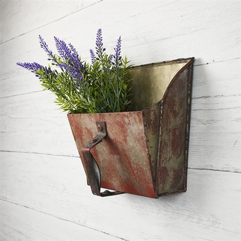 Red Distressed Square Tin Scoop Wall Bin