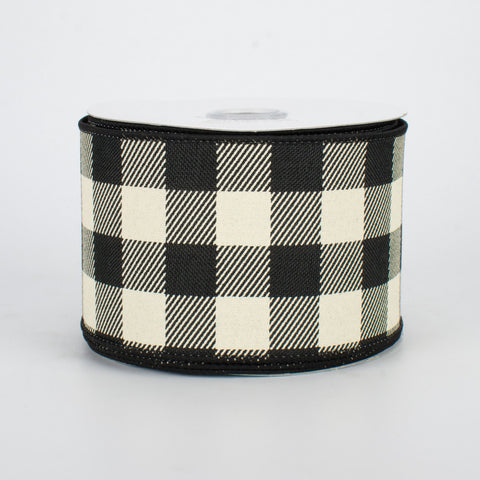 "Buffalo Plaid Check Black & Ivory Ribbon 2.5"" x 10 yards"