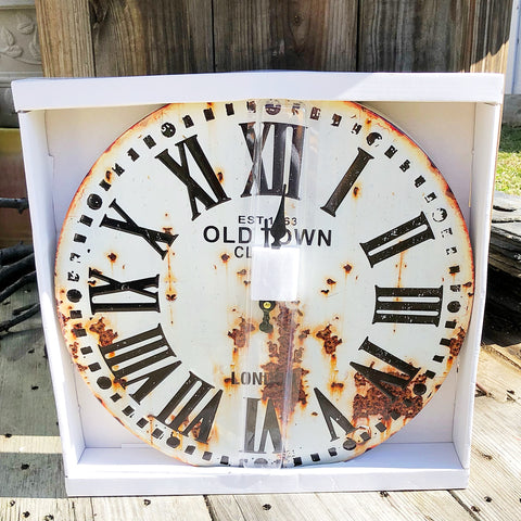 Old Town London Distressed Metal Wall Clock