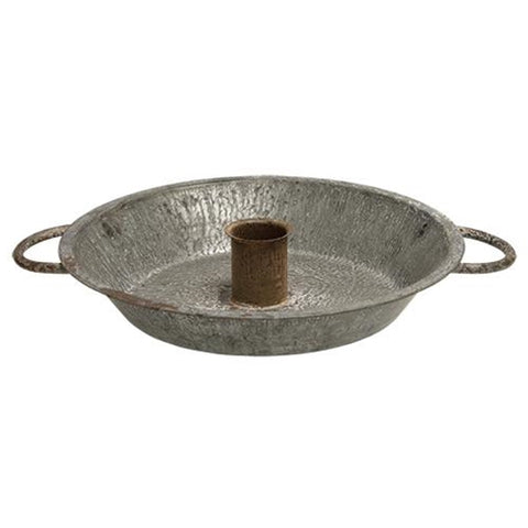 Farmhouse Galvanized Taper Candle Pan
