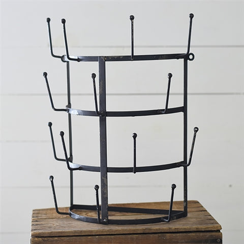 Large Farmhouse Metal Cup Rack Distressed finish - wall mount, holds up to 16 cups