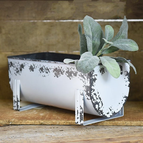 Distressed White Gutter Planter