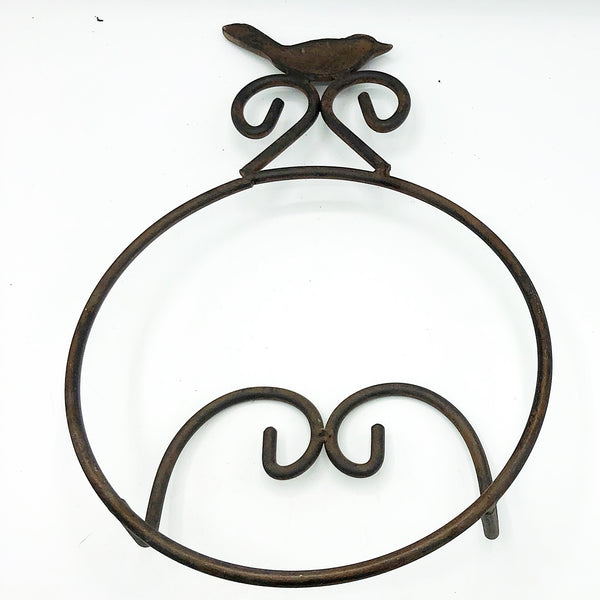"Bird Metal Hanging Plate Holder - holds 8"" to 10"" plate"