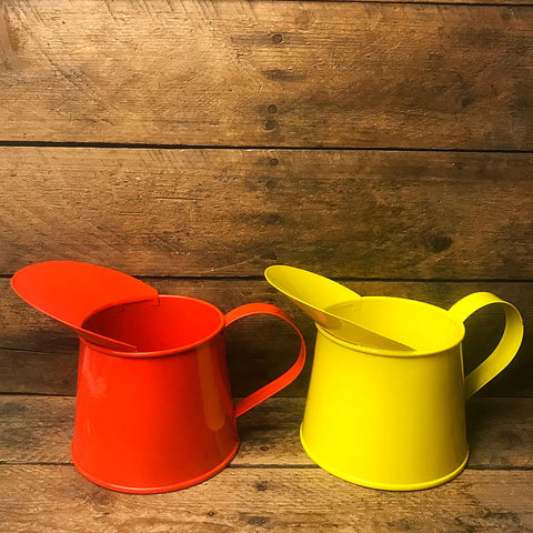 Set of Two Orange-Red and Yellow Small Metal Pitchers
