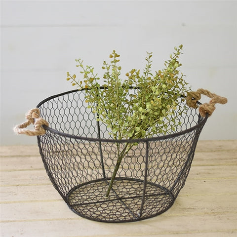 Farmhouse Chicken Wire Round Basket 14""