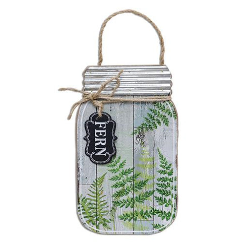 Slat Fern Mason Jar Hanging Sign