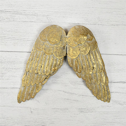 "Antique Gold Style Tin Wings - 6"" H"